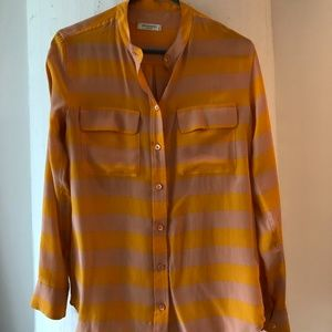 Equipment silk orange and pink striped blouse